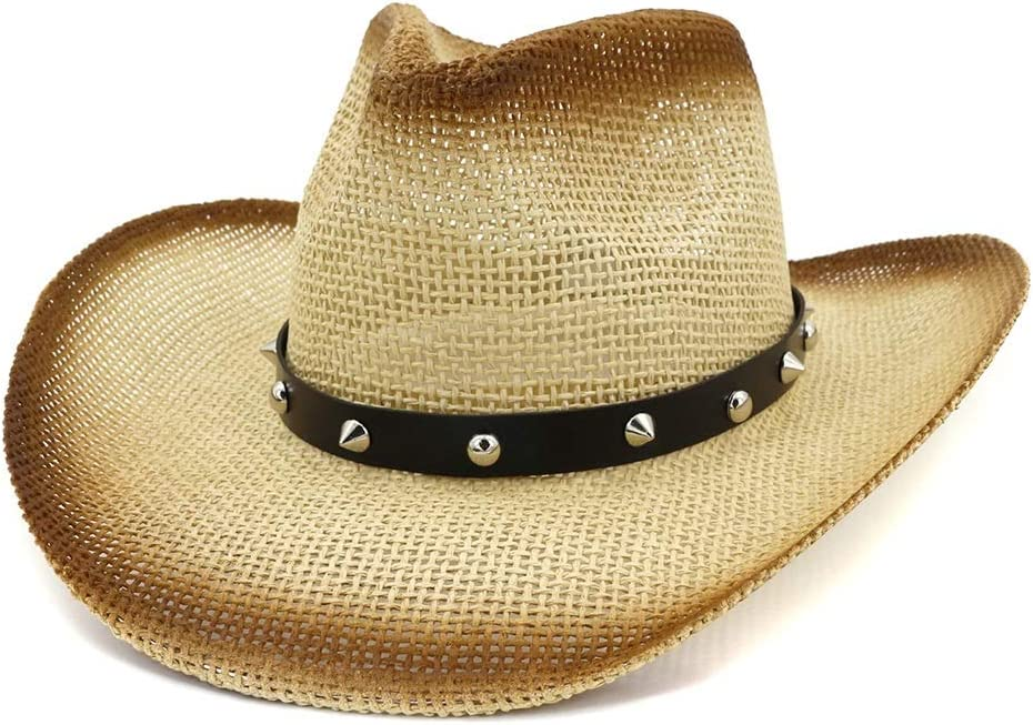 Opled Western Cowgirl Hat for Women Outdoor Beach Vacation Sun Visor Spray Paint Cowboy Straw Hat Cone Rivet Beach Sun Hat (Color : 2, Size : 56-58cm)