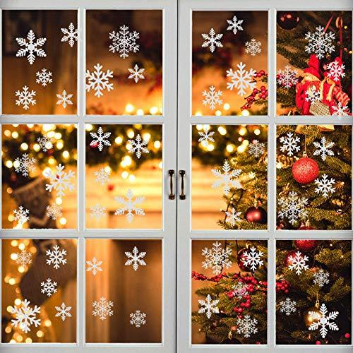 EDOTON Schneeflocken Fensterdeko Set Fensterbilder Weihnachten Selbstklebend Abnehmbare PVC Aufkleber Winter Dekoration Fensteraufkleber 6 Blatt