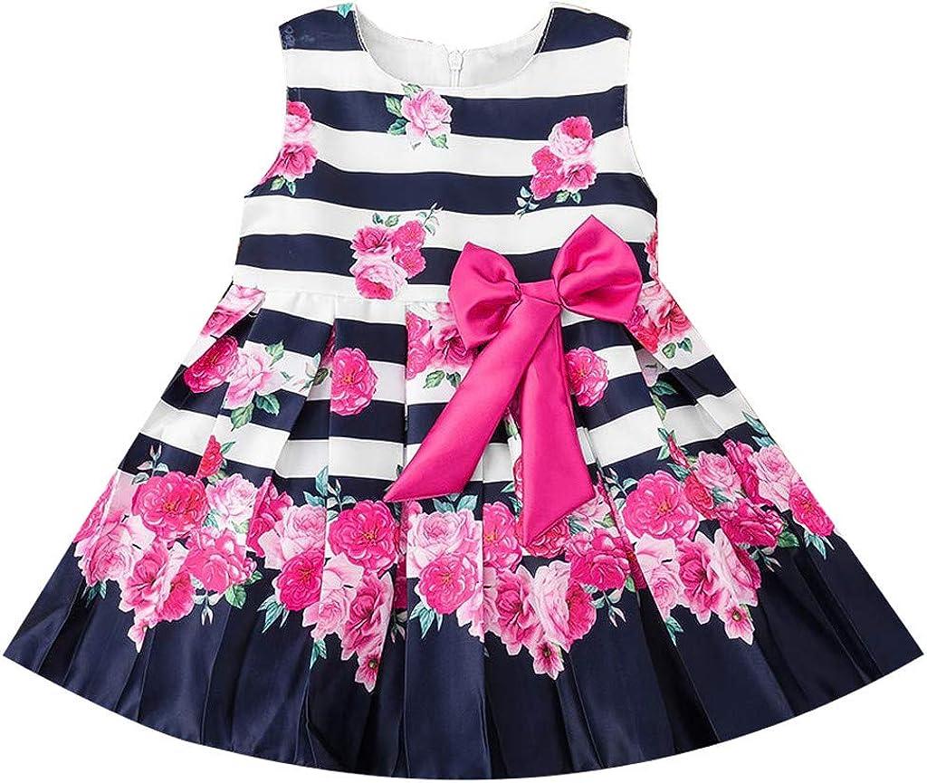 Summer Baby Girls Striped Princess Dress Cotton Kids Tops A-Line Dress Clothes