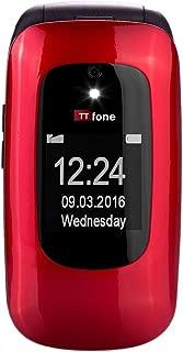 TTfone Lunar TT750 Big Button Simple Easy Clamshell Flip Sim Free Mobile Phone (Red)