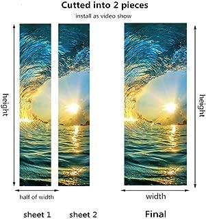 Claresnce Non-Adhesive Glass Films Anti Uv,Custom 3D Creative One Piece Door Stickers for Living Room DIY PVC Self-Adhesive Wallpaper Wooden Door Renovation Decals (15