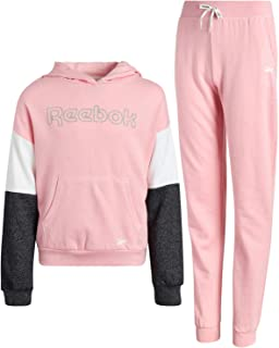 Reebok Girls' Athletic Jogger Set with Pullover Hoodie and Sweatpants (2 Piece)
