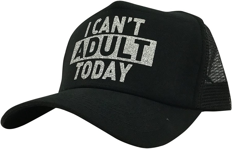 High Key Women's GlitterI Can't Adult Today Mesh Trucker Hat