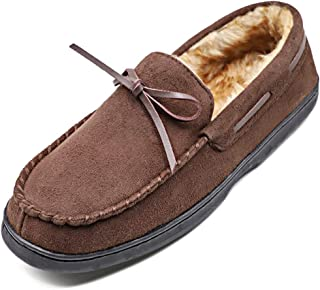 Men's Moccasin House Slippers Flannel Lined Wide Shoes Micro Suede Slip On Flats Comfort Memory Foam Rubber Sole Indoor
