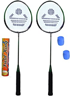 CB-110 Badminton Kit- (2 Racket, 2 Grip and Field King Shuttle Cock- Pack of 10)