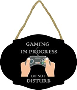 JJDOU Do Not Disturb I'm Gaming Sign,Do Not Disturb Gaming in Progress Door Hanging Sign of Gaming Room Decor Wall Wecor-Gamer Gifts for Gamers and for Teen Boys