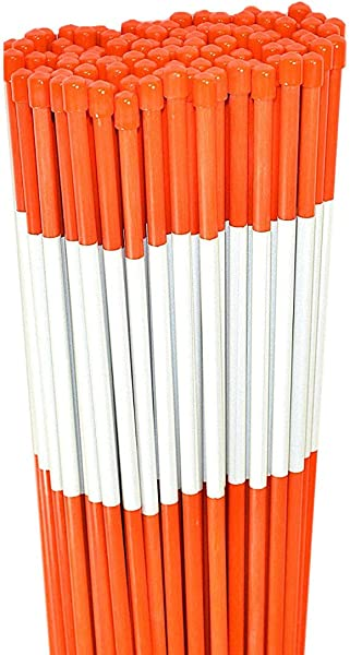 Driveway Marker Snow Stakes Plow Stakes Reflective Tape 5 16 Diameter X 48 Fiberglass Orange 100 Pack