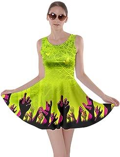 Womens Halloween Witches Cats Bats Skull Ghost Pumpkin Monster Skater Dress, XS-5XL