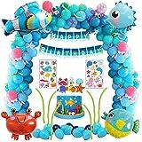 Decoración de fiesta de cumpleaños de mar azul con animales marinos pez globo pez globo globo de cangrejo hipocampo, kit de suministros...