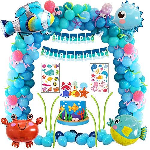 MMTX Decorazioni di Compleanno Party Ragazzo Ragazza, Decorazioni Compleanno Blu con Palloncini Animali marini, Kit di Forniture per Feste per Bambini con Banner