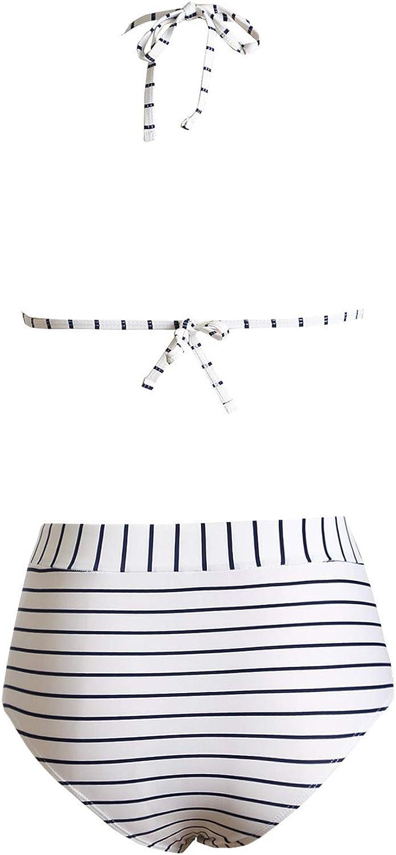 Dokotoo Womens Floral Print High Waist Two Pieces Bikini Set Striped Tassel Swimsuit
