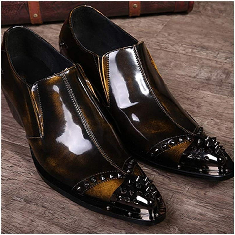 Rui Landed Oxford Für Mnner Formelle Schuhe Slip On Style Hochwertiges Echtes Leder Hhe Zunehmende Einlegesohle Luxe Retro Farbe Nachtclub (Farbe   Gelb, Gre   46 EU)