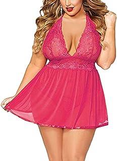 ملابس داخلية نسائية مثيرة للنساء زائد مقاس واحد مثير مزود ب ب ب ب واحد للنساء ملابس داخلية (اللون: وردي فاقع، المقاس: 3X-L...