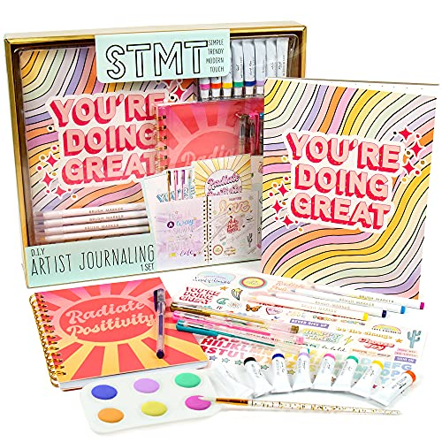 STMT DIY Artist Journaling Set by Horizon Group USA, Includes Watercolor Pad, Spiral-Bound Journal, 8 Watercolor Paint Tubes & 6-Well Paint Palette, 4 Gel Pens, 4 Brush Markers, Stickers & More