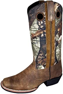 Smoky Women'sBrown Distress and Brown Camo Square Toe Western Cowboy Boot