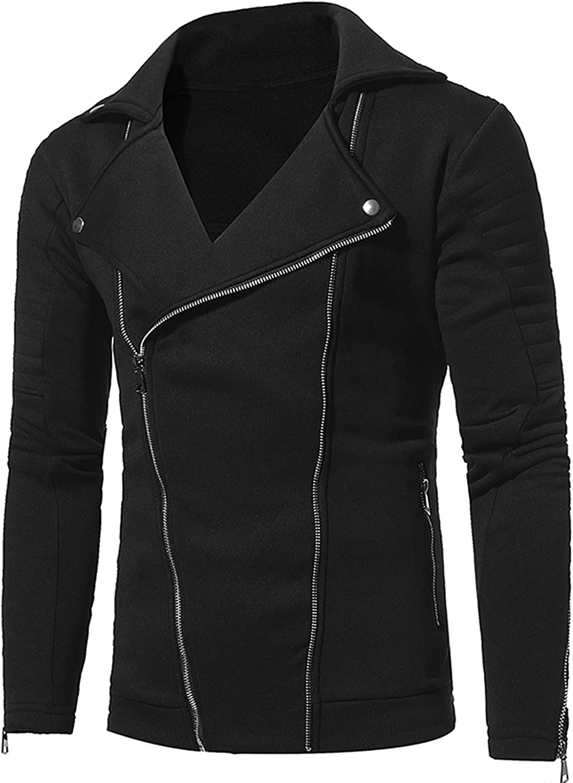 FORUU Motorcycle Jackets For Men 2021 Fall Winter Double Tilted Zipper Jacket Turn-down Collar Coat Slim Fit Jacket