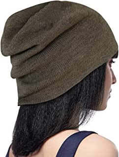 DELUXSEY 2 Layer Knit Slouchy Beanie for Women Winter Beanies Skullies Hats Caps