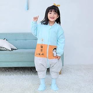 Pijama Bebé Unisex,Saco de Dormir Para Bebé Para Otoño/Invierno, Mameluco 100% Algodón Grueso Recién Nacido, Saco de Dormir Para Bebé Niño-Azul Y Blanco_90Yardas(Altura 75-90cm)