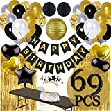 Funnlot Black and Gold Decorations Black and Gold Party Supplies Black and Gold Party Supplies Including Happy Birthday Banners Black and Gold Balloons Pom Poms Flowers Black and Gold Tablecloth Black and Gold Party Decor(69PCS)