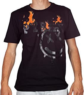 Pyrex T-Shirt Uomo Nero Girocollo Maxi Stampa con Smile e Logo con Fiamme