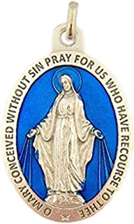 L&M Silver Toned Base Blue Enamel Blessed Saint Mary Miraculous Medal, 1 3/4 Inch
