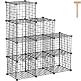 "C&AHOME Wire Cube Storage, 9-Cube Storage Organizer, Metal Stackable Storage Bins, Modular Bookshelf, DIY Closet Cabinet Ideal for LivingRoom Bedroom, Home, Office 36.6""L x 12.4""W x 48.4""H Black"