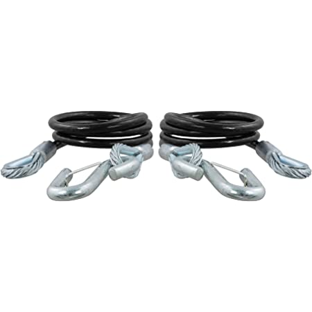 CURT 80151 44-1/2-Inch Vinyl-Coated Trailer Safety Cables, 7/16-In Snap Hooks, 5,000 lbs Break Strength, 2-Pack
