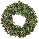 National Tree Company Pre-lit Artificial Christmas Wreath| Flocked with Mixed Decorations and Pre-strung LED Lights | Crestwood Spruce - 24 inch