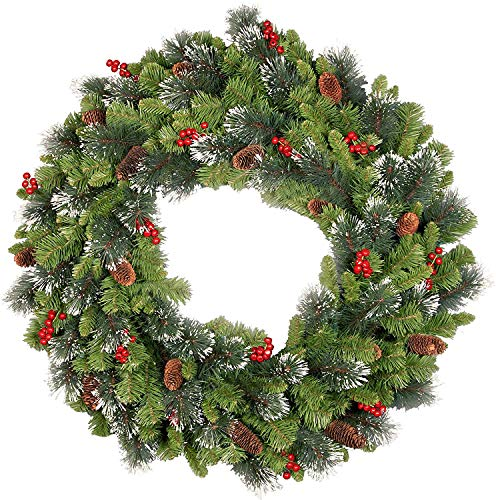 National Tree Company Pre-lit Artificial Christmas Wreath| Flocked with Mixed Decorations and Pre-strung White Lights | Crestwood Spruce - 24 inch