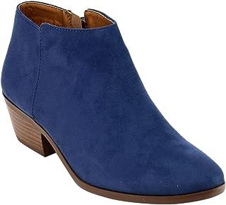 SODA FC67 Women's Western Inside Zipper Stacked Heel Ankle Booties, Color:Blue Denim Suede, Size:7