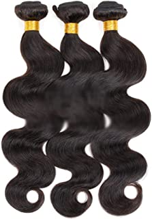 "Hairpieces Hairpieces Fashian 12""-30"" Brazilian Body Wave Bundle 100% Unprocessed Human Hair Natural Color Hair Extensions 50g/pcs (1 Bundle) for Daily Use and Party (Color : Black, Size : 28 inch)"