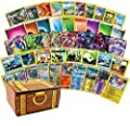 200 Assorted Pokemon Cards - 3 GX Ultra Rares, 4 Rare Cards, 3 Holographics, 90 Common/Uncommons, and 100 Energy Cards - Includes Golden Groundhog Treasure Chest Storage Box from Golden Groundhog