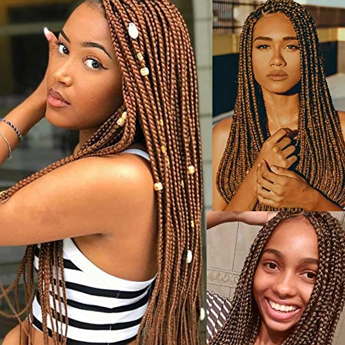 20 inch Pre Stretched Braiding hair Ombre Colors Yaki Texture Hair Braids 8 Packs Hot Water Setting Top Quality Synthetic Fiber Crochet Braiding Hair Extensions (20inch, 30#)