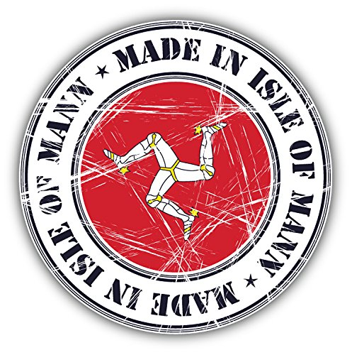 Made In Isle Of Man Grunge Flag Stamp Art Decor Vinyl Sticker Pegatina 12 x 12 cm