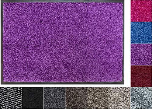 Jan Max Schmutzfangmatte - 8 Farben - Fußmatte mit 2900g/m2 PP Twisted Heatset Faser - 2,4l/m2 Feuchtigkeitsaufnahme - Sauberlaufmatte 60 x 90 cm Lila