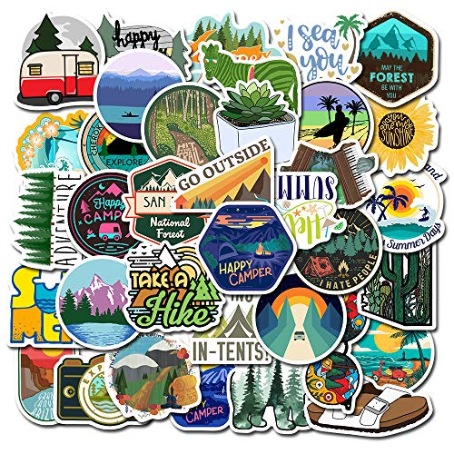 MSOLE 50PCS Outdoors Adventure Waterproof Stickers for Water Bottles Laptop HydroFlasks Hiking Camping Travel Aesthetic Trendy Decal Stickers for Mac Computer Phone Guitar for Teens Boys