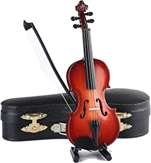 Dselvgvu Wooden Miniature Violin with Stand,Bow and Case Mini Musical Instrument Miniature Dollhouse Model Ornament Home D...