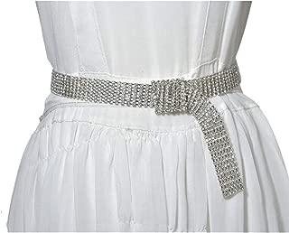 Inlaid with Thin Waist Chain New Luxury Rhinestone Inlaid Ladies Metal Waist Chain (Color : Silver, Size : 100cm)