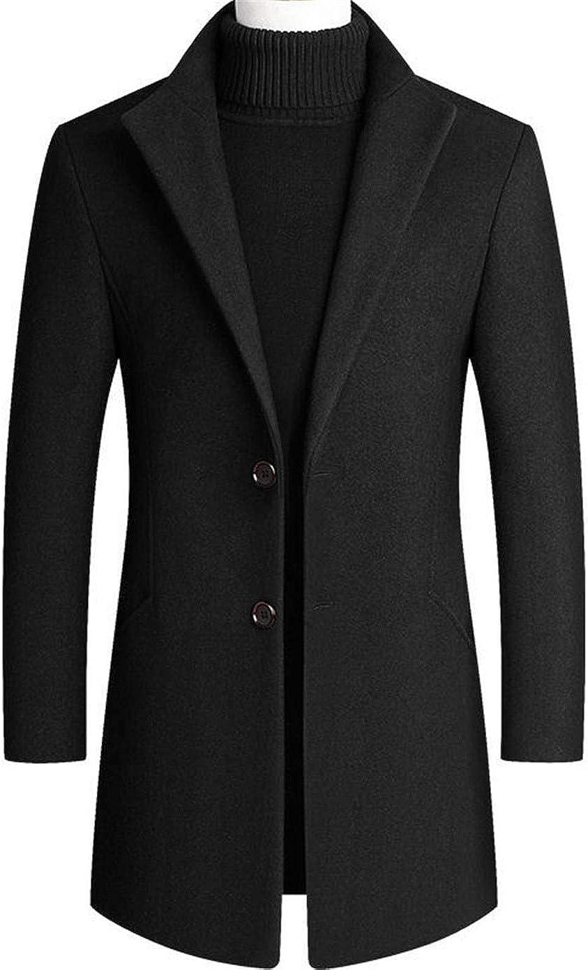 Soluo Mens Trench Coat Wool Blend Top Pea Coat Winter Long Single Breasted Overcoat Outwear Jacket (Black,Medium)