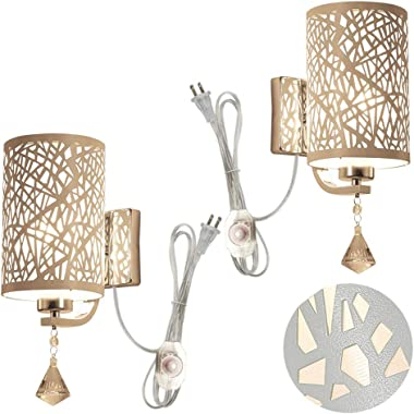 STGLIGHTING 2-Pack Modern Simple PMMA Printing Bedroom Wall Lamp Living Room Wall Lamp E26 UL Certification Plug-in Dimmable
