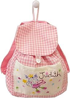 Mochila bebe vichy rosa personalizada hada libelula