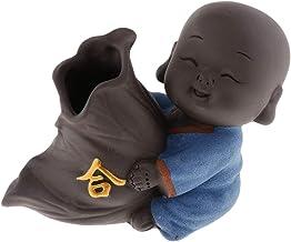 F Fityle Cute Buddha Statue Small Monk Figurine Tathagata India Yoga Mandala Sculptures Tea Pet Ceramic Crafts - Style 05