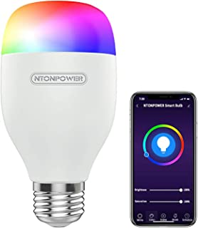 NTONPOWER Smart Light Bulb - E26 RGBCW WiFi Dimmable Multicolor LED Light Compatible with Siri, Alexa, Google Home and IFTTT (No Hub Required) 7W, 60W Equivalent, 600LM, 2800-6500k Color Changing Bulb