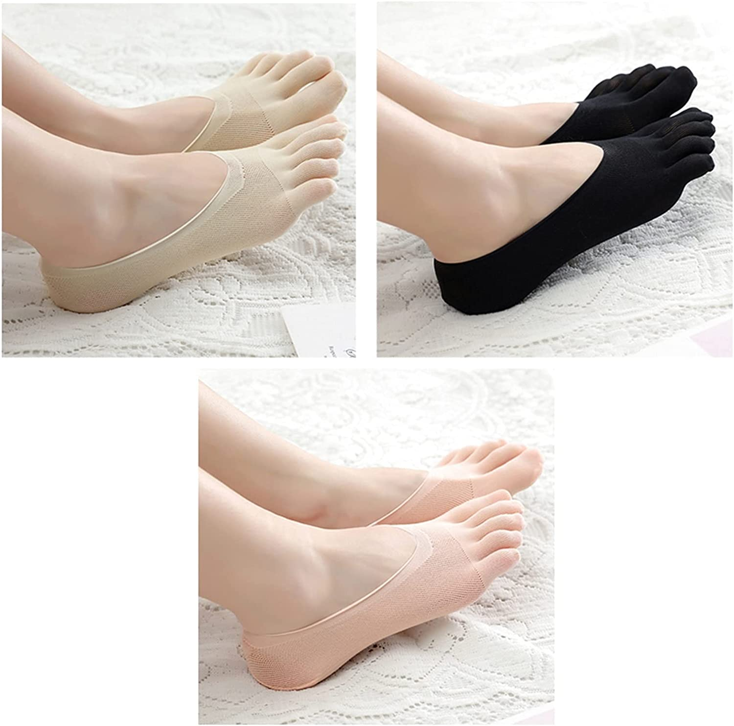CHENGCHAO Sock Women Summer Five-Finger Socks Female Ultrathin Sock Funny Toe Invisible Silicone Anti-Skid Anti-Friction Movement (Color : Skin Black Pink, Size : 1 Pair)