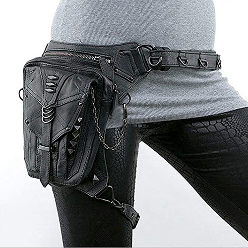 Sac de Taille noir Gothic Rock PU Cuir Steampunk Sac à Main Taille Leg Pack Vintage Punk épaule Messenger Bag Polyvalent
