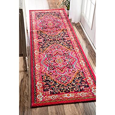 nuLOOM Traditional Flower Medallion Runner Area Rug, 2' 6  x 8', Violet Pink