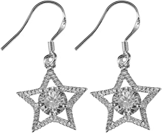 8e2e7fea77c6 Pendientes mujer estrella 925 Pendiente plateado plateado Pendiente estrella  de cinco puntas con circón