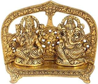 Handicrafts Paradise Lakshmi Ganesh Gold Plated in Metal Seated with Arch at Back