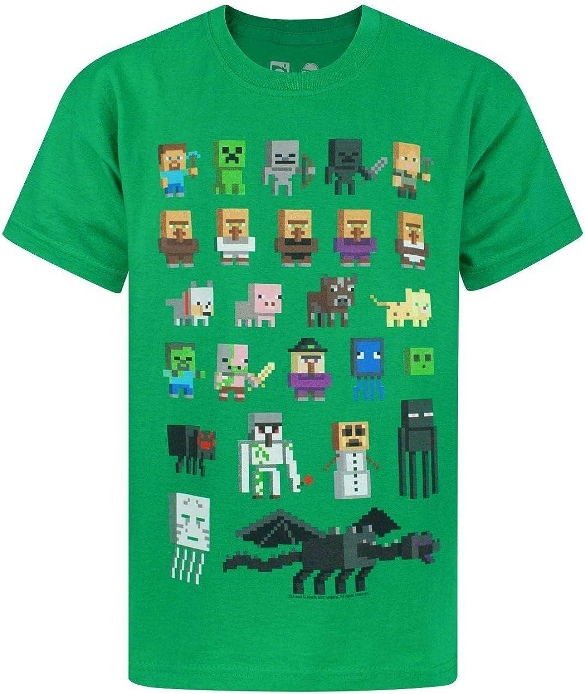 Minecraft T Shirt for Boys Sprites Short Sleeve Kids Top