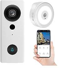 Wifi draadloze video-deurbel, tuya smart 1080p deurtelefoongesprek audio-intercomcamera werkt met alexa en google assistent